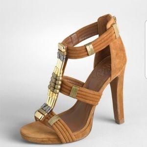 Tory Burch Carla Suede Beaded Heel Sandal